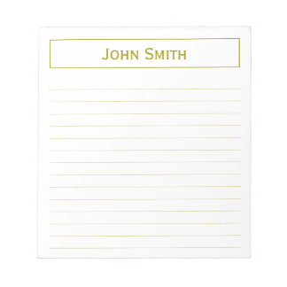 Personalize: Corporate Minimal Gold & White Note Pad