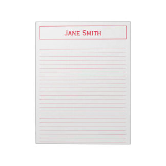 Personalize: Corporate Minimal Red and White Note Pad