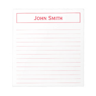 Personalize: Corporate Minimal Red and White Notepad
