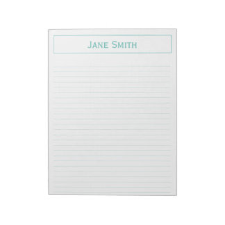 Personalize: Corporate Minimal Teal and White Notepad