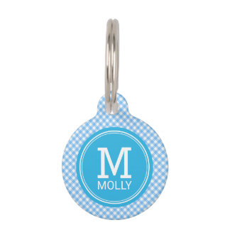 Personalize Country Baby Blue Gingham Monogram Pet ID Tag