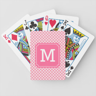 Personalize Country Baby Pink Gingham Monogram Bicycle Playing Cards