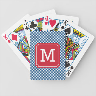 Personalize Country Chic Blue Gingham Monogram Bicycle Playing Cards