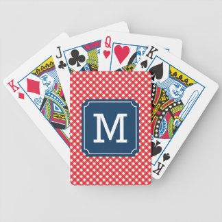 Personalize Country Chic Red Gingham Monogram Bicycle Playing Cards