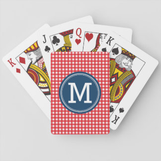 Personalize Country Picnic Red Monogram Playing Cards