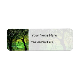 Personalize Cross Hatched Tree on Green Watercolor Label