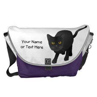 Personalize cute Black Cat Messenger Bag