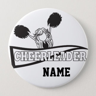 Personalize Cute Black Cheerleader Girl Pinback Button