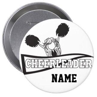 Personalize Cute Black Cheerleader Girl Pinback Button