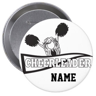 Personalize Cute Black Cheerleader Girl Pins