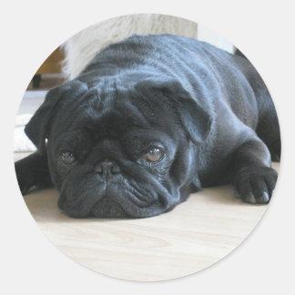 Personalize cute black Pug Puppy accessories name Classic Round Sticker