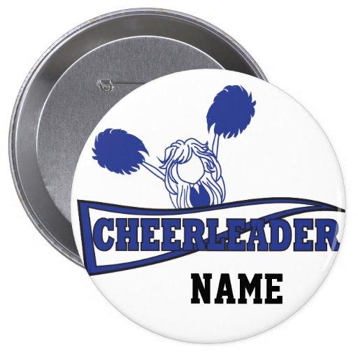 Personalize Cute Dark Blue Cheerleader Girl Pin