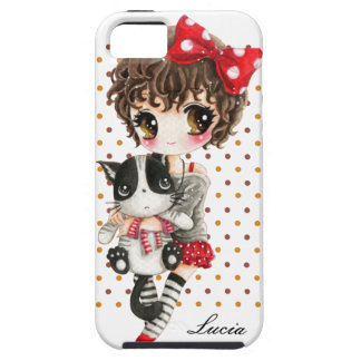 Personalize - Cute girl with cat on polka dots iPhone 5 Case