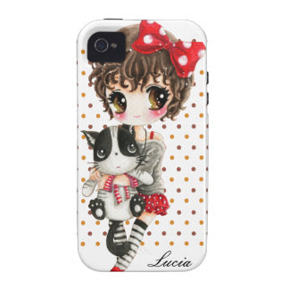 Personalize - Cute girl with cat on polka dots iPhone 4/4S Covers