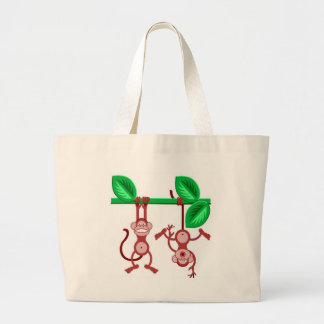 Personalize Cute Hanging Monkdeys Tote Bag