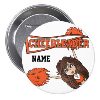 Personalize Cute Orange Cheerleader Girl Button