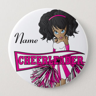 Personalize Cute Pink Cheerleader Girl Button