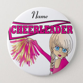Personalize Cute Pink Cheerleader Girl Pinback Button