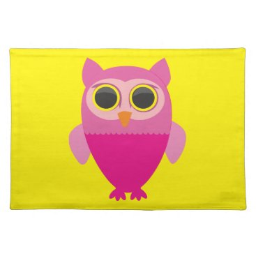 Beach Themed Personalize Cute Pink Owl Character Placemat