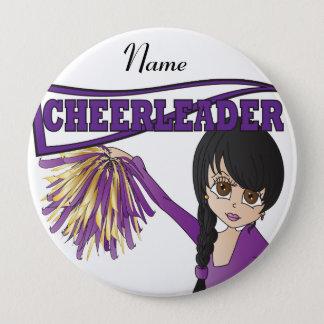 Personalize Cute Purple Cheerleader Girl Pinback Button