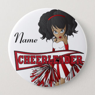 Personalize Cute Red Cheerleader Girl Button