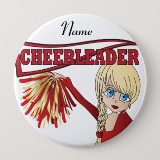 Personalize Cute Red Cheerleader Girl Pinback Button