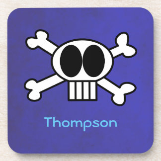 Personalize Cute Skull and Crossbones Beverage Coaster
