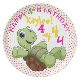 PERSONALIZE Cute Turtle Happy Birthday for Girl Dinner Plates