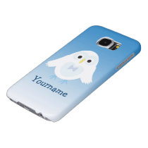 Personalize Cute White Blue Owl with Your name Samsung Galaxy S6 Case