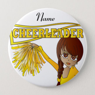 Personalize Cute Yellow Cheerleader Girl Pinback Button