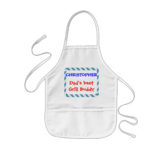 Personalize, Dad's Grill Buddy! Blue Stripes Kids' Apron
