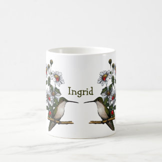 Personalize: Daisies, Hummingbird, Ladybugs: Art Coffee Mug