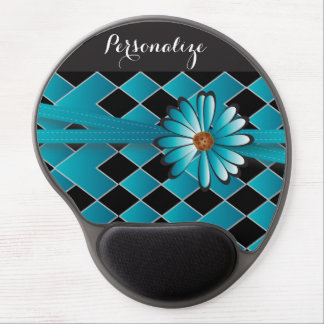 Personalize Daisy Diamond Weave in Turquoise Blue Gel Mouse Pad