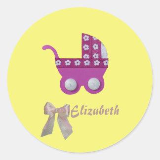 Personalize Dark pink stroller baby girl shower Classic Round Sticker