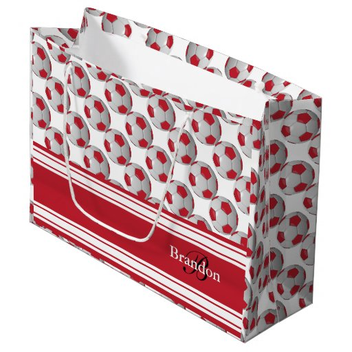 Personalize Dark Red and White Soccer Balls Large Gift Bag