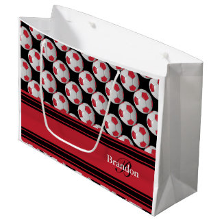 Personalize Dark Red Soccer Balls Large Gift Bag