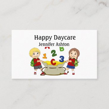 Personalize Daycare Preschool Teacher Happy Kids Business Card