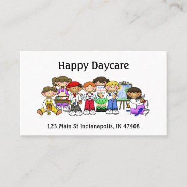 Personalize Daycare Preschool Teacher Happy Kids Business Card