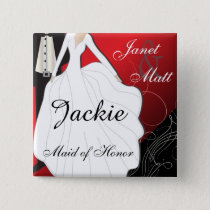 Personalize Deep Red Wedding Party Button