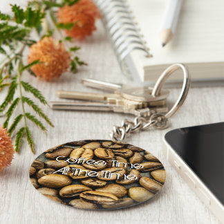 Personalize Delicious rustic gold coffee beans Keychain