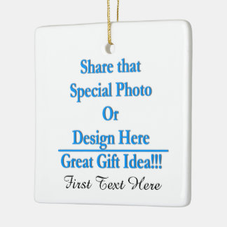 Personalize Different Image Both Sides-Black Text Ceramic Ornament