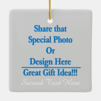 Personalize Different Image Both Sides-White Text Ceramic Ornament