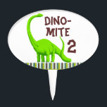 """Personalize Dinosaur Birthday cake topper<br><div class=""""desc"""">Personalize age dino-mite birthday cake topper. Made with a green dinosaur with blue,  brown and green striped border.  Be sure to personalize age</div>"""