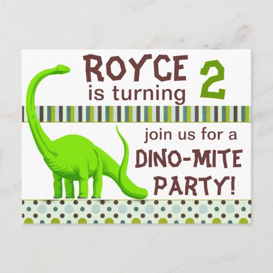 Personalize Dinosaur Birthday Invitation Postcard