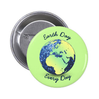 Personalize Earth Day blue sparkles Globe Button