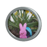 Personalize Easter Bunny Peace Love Art Destiny Oval Belt Buckle