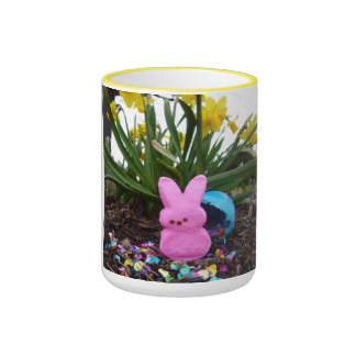 Personalize Easter Bunny Peace Love Art Destiny Ringer Coffee Mug