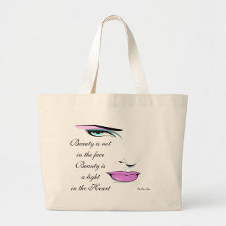"""Personalize Elegant """"Beauty"""" Quote Tote Bag"""
