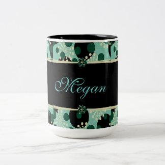 Personalize Elegant Flowers and Polka dots Two-Tone Coffee Mug