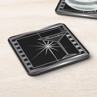 Personalize Elegant Silver Cocktail Design Coaster